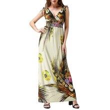 Robes verano 2017 Femmes D'été Plage Robe Sexy Dos Ouvert V cou Sans Manches Floral Robe Grande Taille 6XL Robe longue femme ete