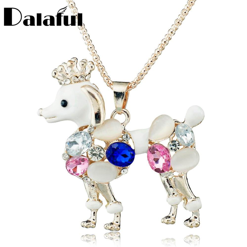 10927a464f1a Exquisito hermoso perro encantador cadena larga cristalina Collares y  colgantes Collar para las mujeres M143