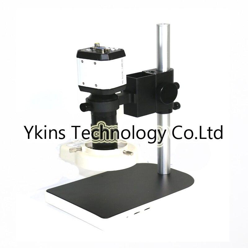 3 in1 Numérique Microscope Caméra VGA USB CVBS sorties TV + 56 LED anneau de Lumière + support à + 8-130X C monture pour PCB/Laboratoire de réparation