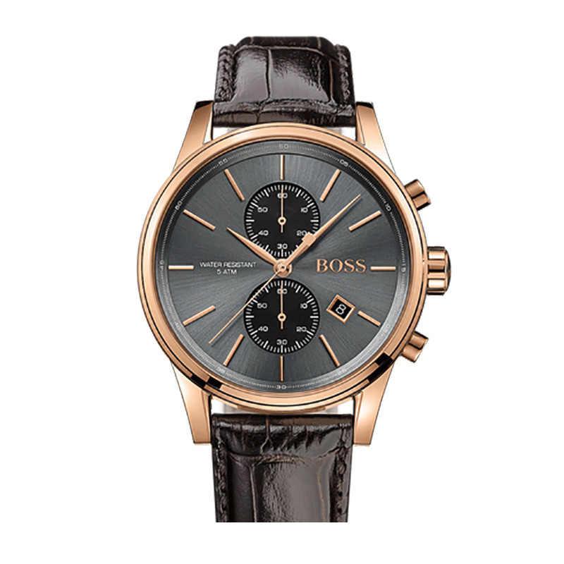 Reloj de pulsera para hombre de lujo con correa de cuero negro, relojes de cuarzo, 1513281
