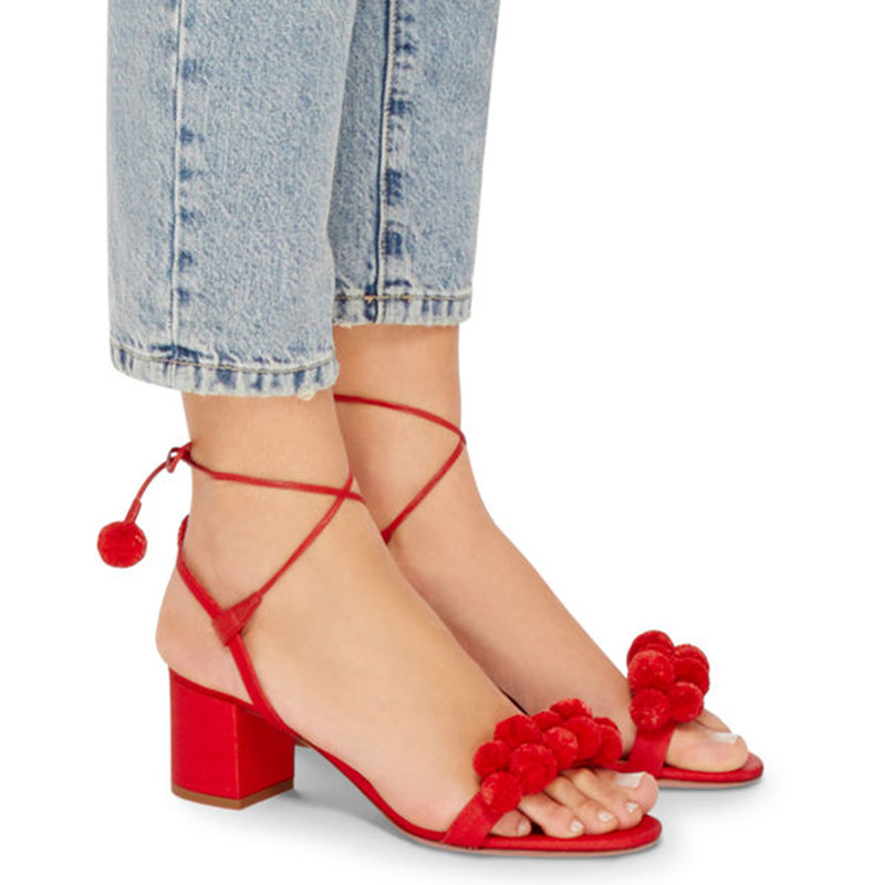 ФОТО New Summer Fashion Floral Hairy Ball Fringe Square Heel Women Shoes Side Cuts-out Lace Up Women Casual Party Walkway Sandals