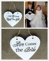 Mộc mạc Cưới Hai Side Khác Nhau In Bằng Gỗ Ở Đây có Cô Dâu Dấu Hiệu Wedding Wedding Flower Girl Đăng Shabby Chic trang trí nội thất