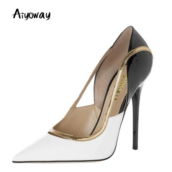 Pointed Toe Patchwork High Heel PU Women Shoes Ladies Women Pumps Autumn Spring Party Dress Shoes Thin Heels Black White Aiyoway