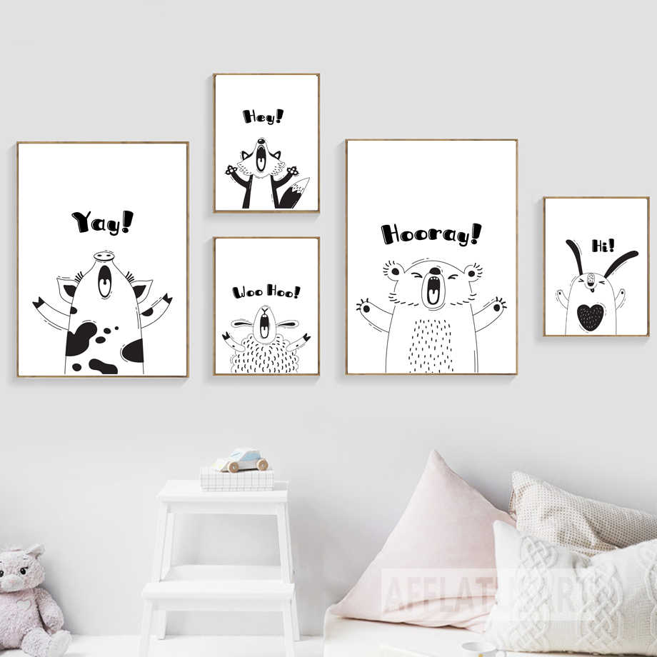 Sheep Panda Rabbit Bear Fox Pug Dog Animal Print Wall Art Canvas Painting Nordic Posters And Prints Wall Pictures Kids Room