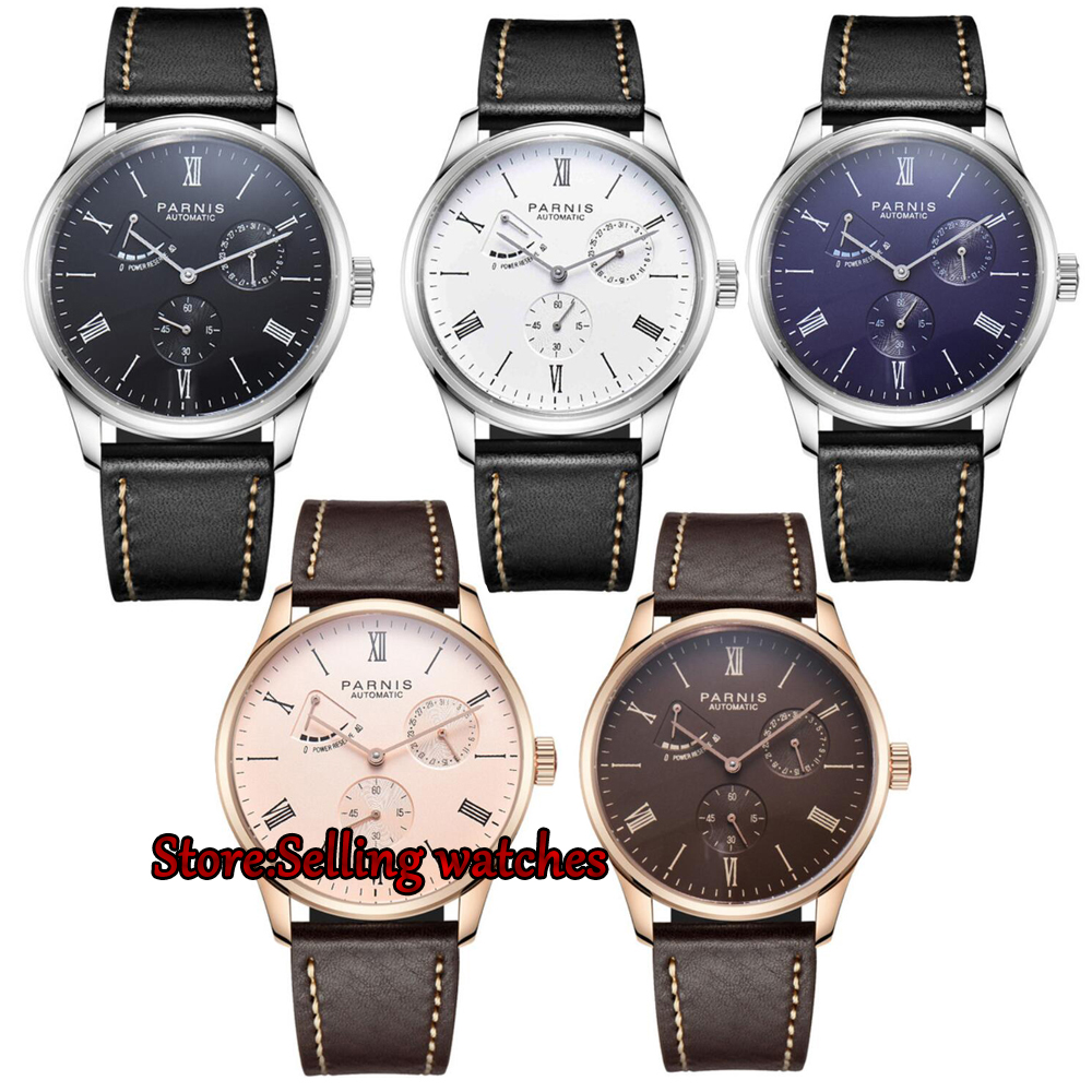 42mm Parnis blue dial full solid case date power reserve ST 1780 automatic mens watch 2017 newest hot 42mm parnis white dial power reserve blue marks date window miyota automatic mechanical mens automatic watch