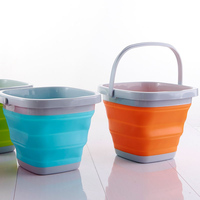 High Quality 10L Square Bucket Portable Folding Washing Hands Basin Foldable Camping Outdoor Fishing Sink Storage