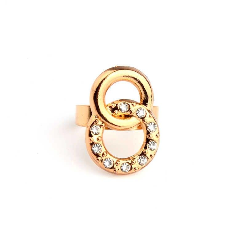 ערכות תכשיטי יהלומים מלאכותיים VIVILADY קלאסי האופנה נשים האפריקאית צבע זהב עגול שרשראות צמידי עגילי טבעת מתנת אבזר