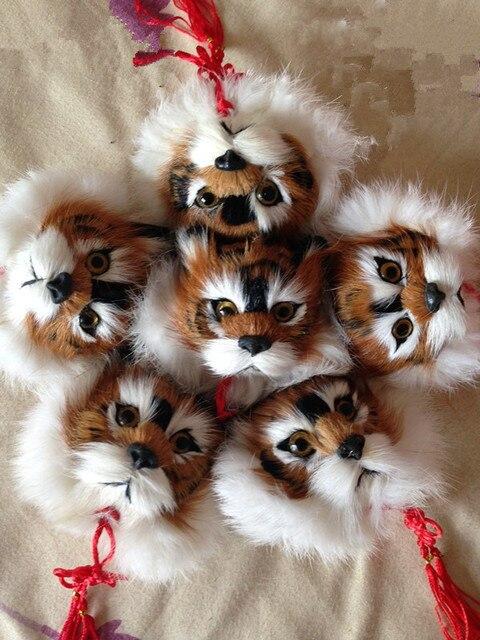 Меха животных брелок Тигр глава мужская сумка подвеска автомобиля брелок