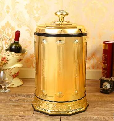 Luxury 10/6 Gold Stainless Steel Metal Trash Can Garbage Cans Open By Hand Trash  Can Kitchen For Home Decor LJT008 In Waste Bins From Home U0026 Garden On ...