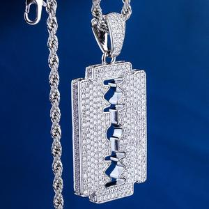 Image 4 - DNSCHIC White Gold Iced Out Double Edged Razor Blade Pendant Hip Hop Necklace Pendant Jewelry for Men Women High Quality