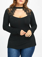 Plus Size XL-5XL Women T Shirt Tops Lace Insert Keyhole Top Long Sleeve