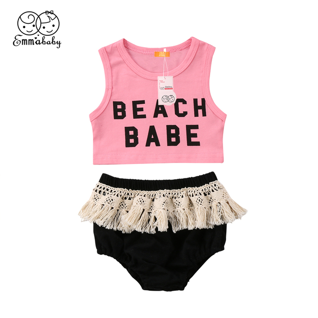 d7c73a2d971c8 US $3.58 7% OFF|2018 new summer cute Newborn Kids Baby Girls sleeveless  pink Vest Crop Top Tassels balck Shorts fashion kid Outfits Clothes set-in  ...