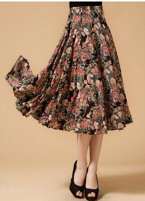 Новинка лета среднего возраста и пожилых Женская мода свободные большой код печати хлопок с эластичной талией юбки хорошее качество ae120 - Цвет: 5