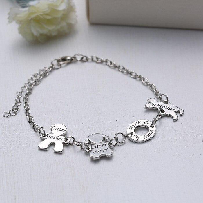 réglable bracelet Tibétain argent Amour Frère Sœur Amour Ma Famille  Bracelets Chaîne Pendentif Bracelet cercle figure charme