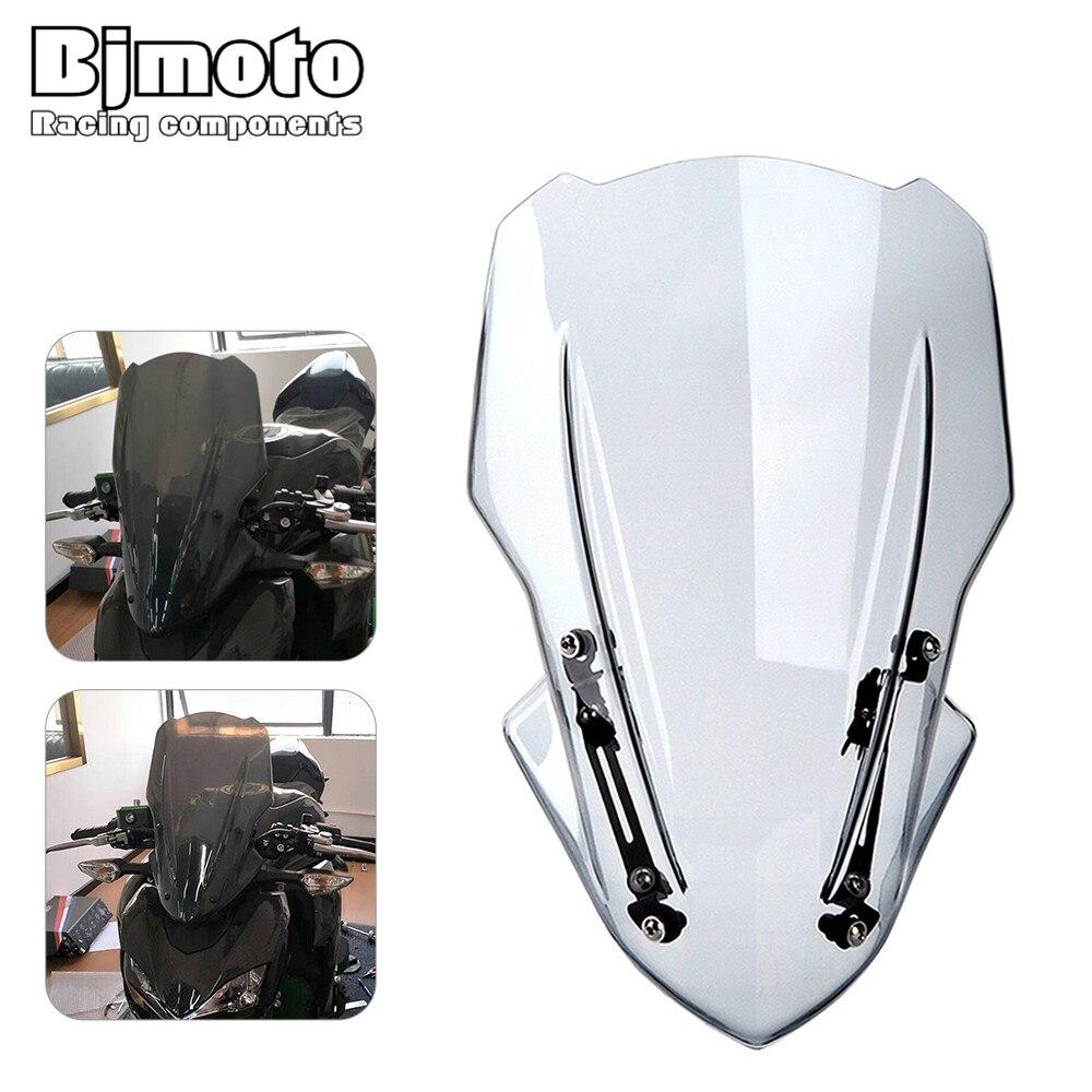 Bjmoto Мотоцикл ветрового стекла Водонепроницаемый протектор лобовое стекло с кронштейн комплект для Kawasaki Z900 Z 900 2017 2018 мотоцикл
