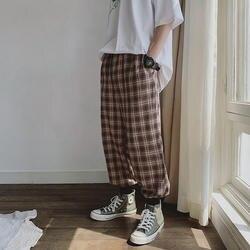 Мужские Винтажные хлопковые льняные свободные широкие клетчатые брюки мужские уличные хип-хоп шаровары Jogger Sweat pants Lovers повседневные брюки