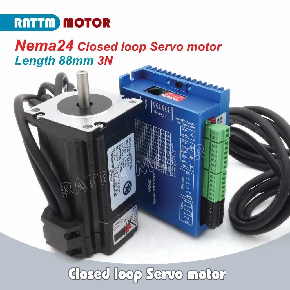 RUS/EU Consegna! Nema24 a Circuito Chiuso 3N. m Servo Motore Kit 5A 2-Fase e 2HSS60 Hybrid Passo-servo Driver di CNC Controller 6A