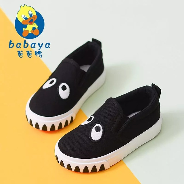 2016 casual Spring brand new cartoon slip on soft canvas girl loafers toddle sneaker baby boys first walkers infant casual shoes