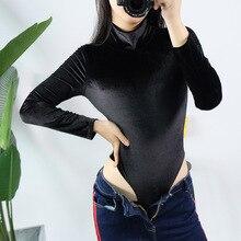 SexeMara Black Velvet Turleneck Slim Bodysuit Summer Women Basic Vintage Elenge Sexy