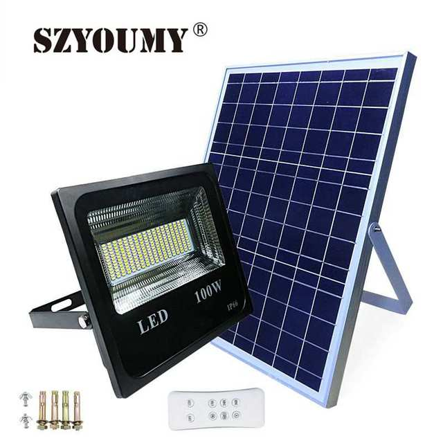 SZYOUMY 30W 50W 150W Double Color Solar Street Lamp LED Solar Light Super Bright Spotlight With Remote controller 4 Modes