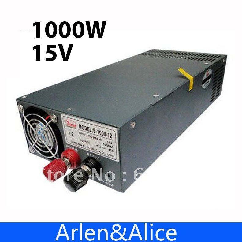 1000W 15V 66A 220V INPUT Single Output Switching power supply for LED Strip light AC to DC best quality 12v 15a 180w switching power supply driver for led strip ac 100 240v input to dc 12v