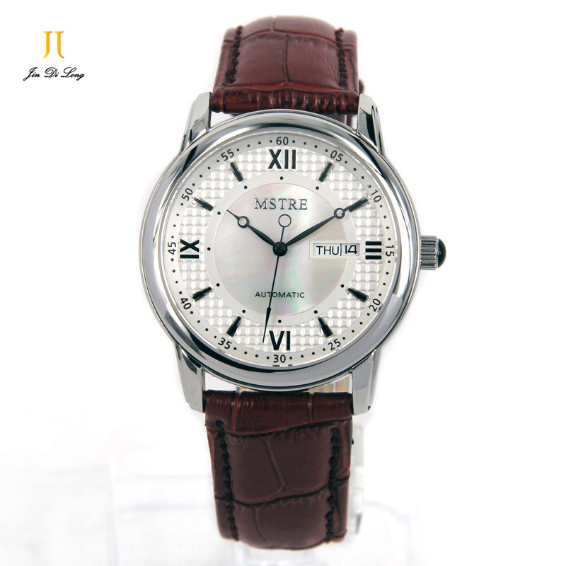 Brand MSTRE Classic Casual Business Men Watch Auto Mechanical Wristwatch Sapphire Flywheel Rome Numeral Calendar Stainless Steel brand mstre fashion classic watch men s business casual auto self wind wristwatches tourbillon day date calendar waterproof 100m