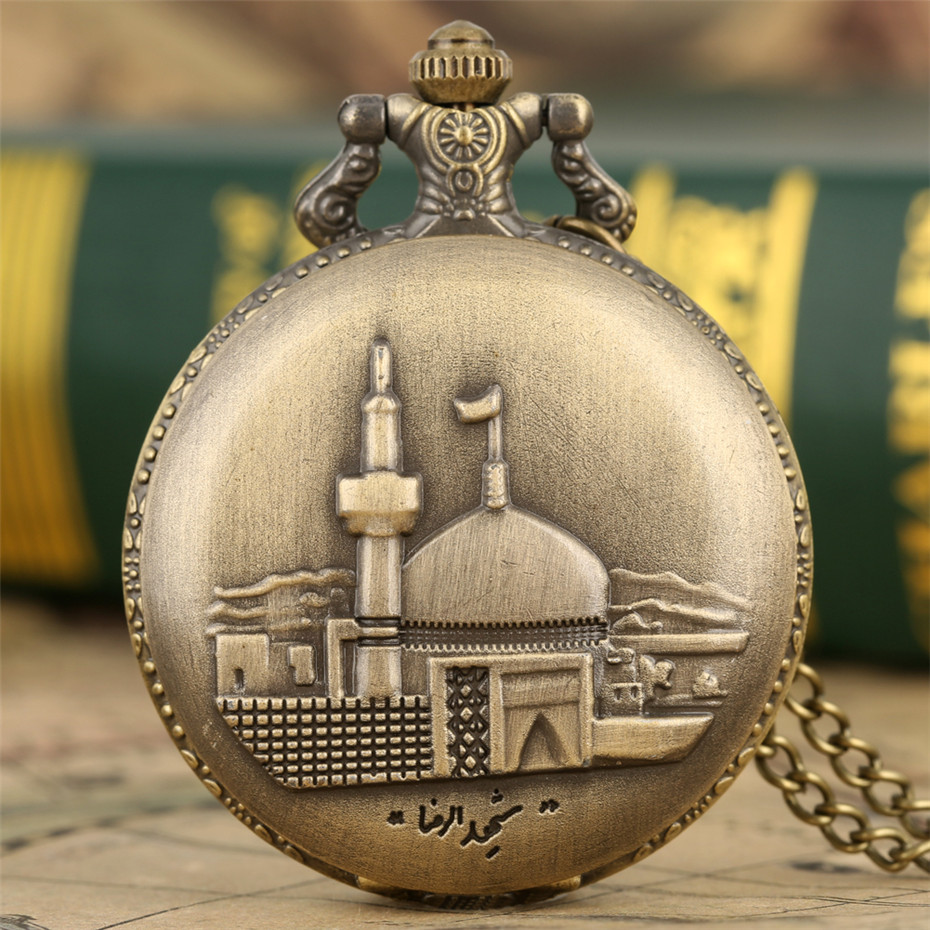 Castle Building Display Full Hunter Quartz Pocket Watch Bronze Necklace Steampunk Pendant Men Women Jewelry Watches Fob Chain