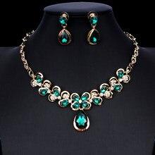 8507ccedfb2c Jiayijiaduo indio conjunto de joyas para las mujeres joyería de la boda de  flor de cristal collar pendientes conjunto nuevo drop.
