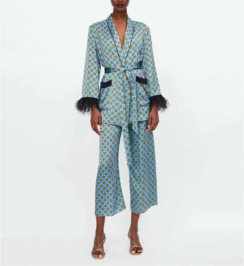 女性のスーツ 2019 新到着ブループリント着物ジャケット羽袖ワイド脚パンツツーピースヴィンテージ服スーツ