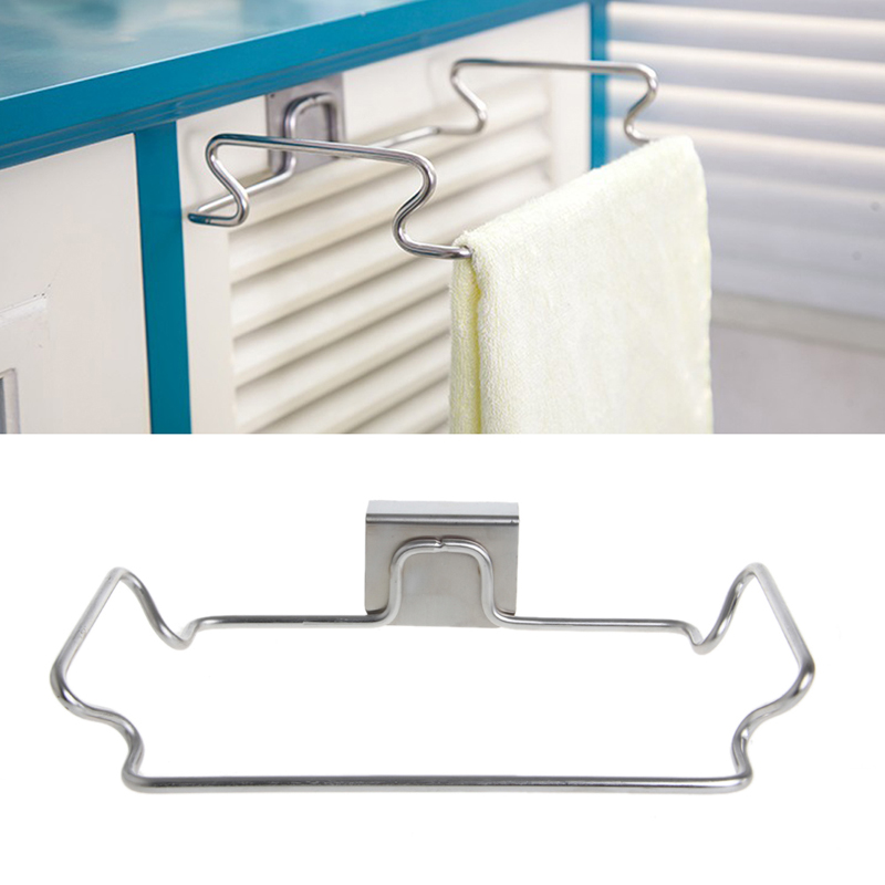Stainless Steel Door Garbage Trash Bag Towel Can Rack Holder Kitchen Closet Racks Tool