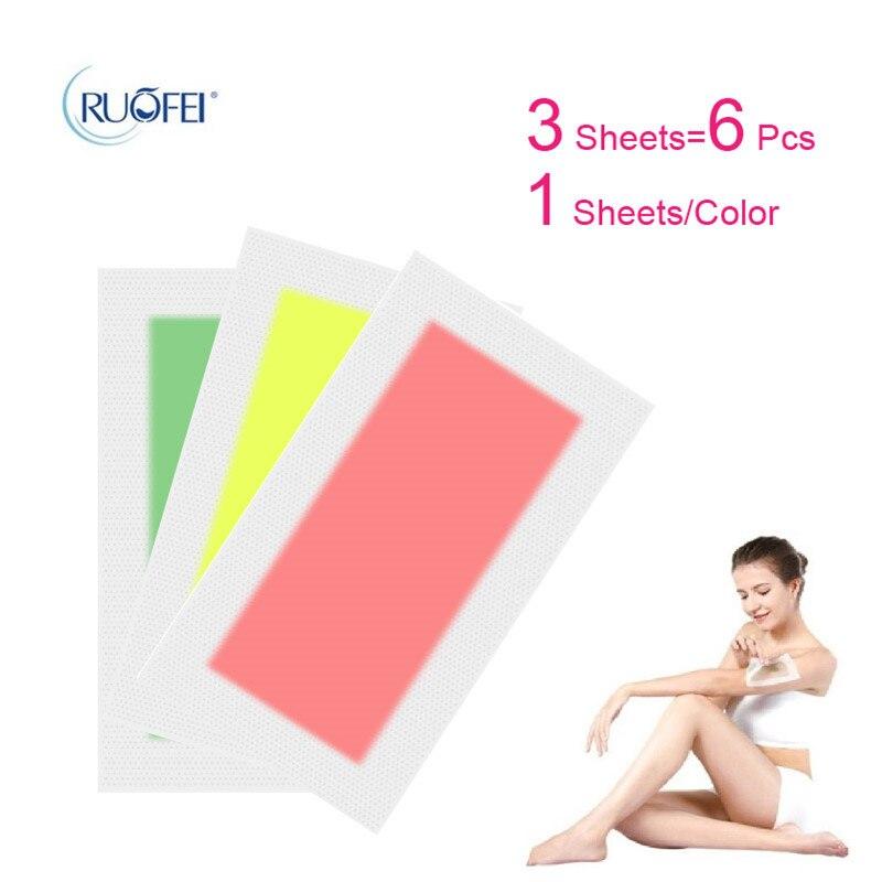 6pcs3sheets Hair Removal Double Side Depilatory Epilator Wax Strip Paper Pad Patch Waxing For Face/Legs Body/Bikini/Underarm