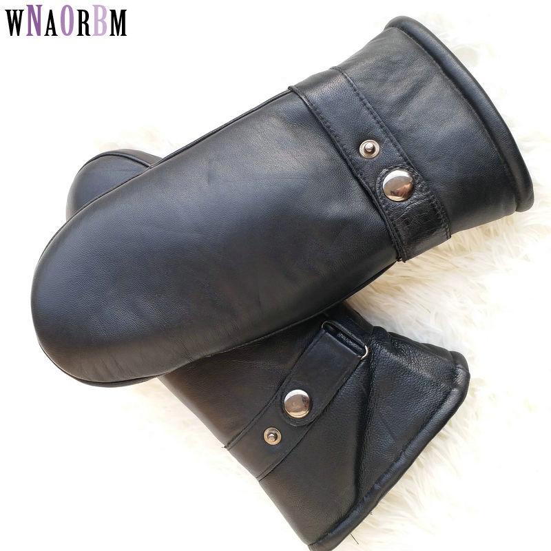 Men sheepskin gloves genuine leather glove for men winter Outdoor warm fur thickening thermal gloves Winter gloves