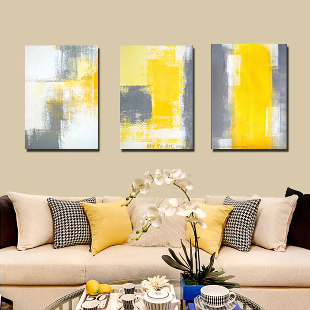 Hand Painted Abstract Three Panels Yellow Grey Color Canvas Oil ...