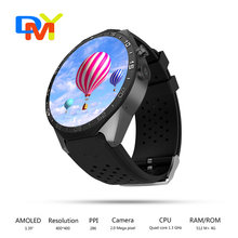 Kw88 3g wifi gps smart watch android 5.1 os mtk6580 cpu 1,39 zoll bildschirm 2.0mp kamera smartwatch für apple moto huawei