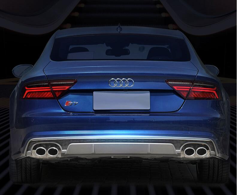 4 Outlet PP <font><b>Rear</b></font> Bumper <font><b>Diffuser</b></font> with Exhaust Tips For <font><b>Audi</b></font> <font><b>A7</b></font> S7 2012 2013 2014 2015 2016 2017 2018 Non S7 Sline image