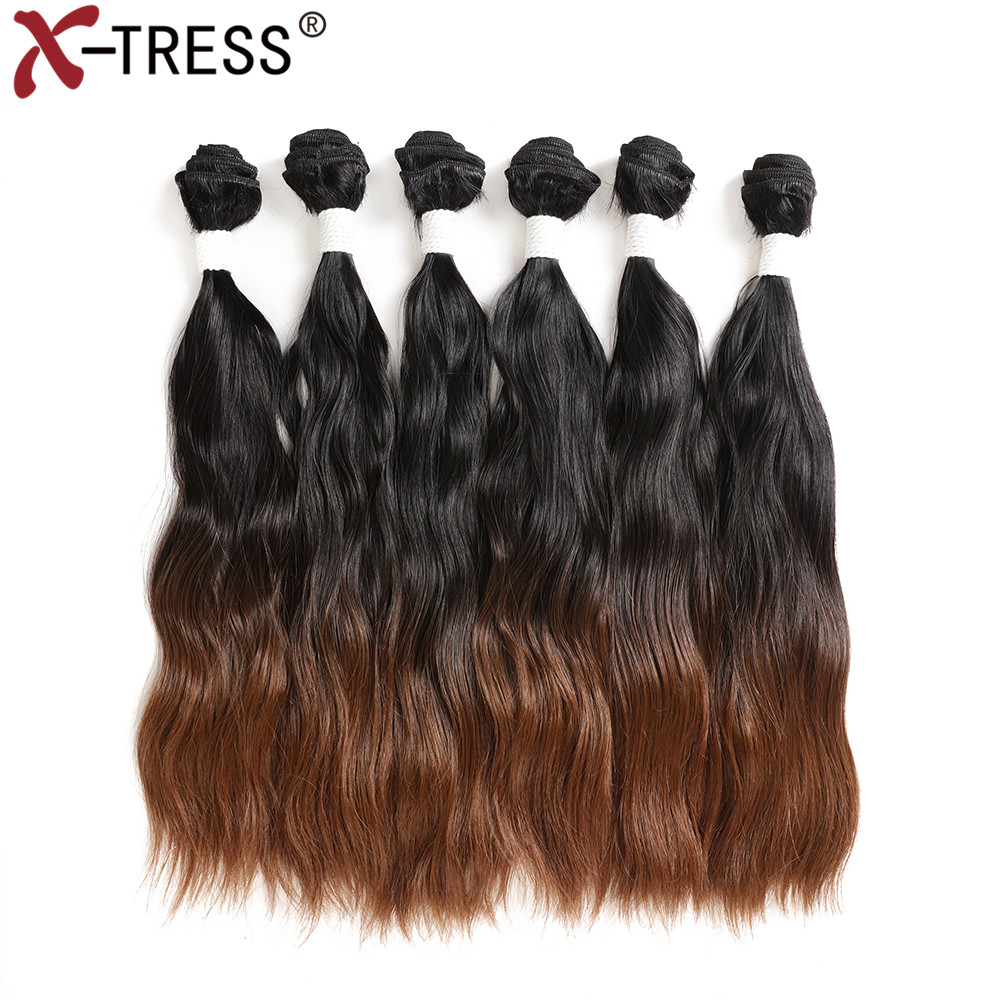 Ombre Black Brown Synthetic Hair Weaves 6 Bundles/Lot Natural Wave Sew in Hair Weft Extension For Full Head 14 20 300G X TRESS