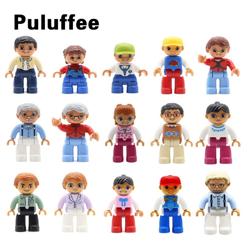 Family Doll Model Set Dad Mom Figure Compatible with Duplo Accessory Bricks Big Particles Building Blocks DIY Kids Gift Toy цена 2017