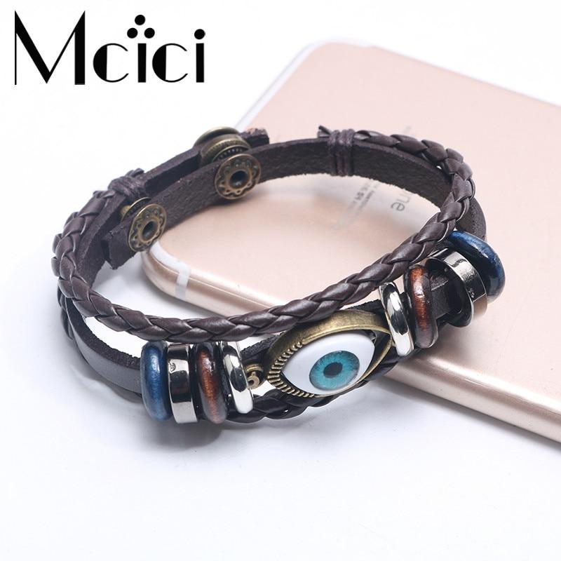Punk Design Turkish Evil Eye Bracelets Wristband Female PU Leather Bracelet Ethnic Vintage Jewelry For Women Men Bijouterie Браслет