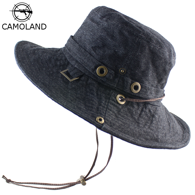 Cotton Sun Hat For Women Men Bucket Denim Spring Summer Fishing Hat Beach Long Large Wide Brim Outdoor UV Protection Foldable
