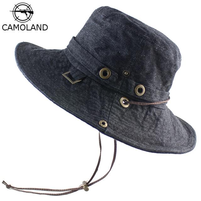 1e2e19d9e45 Cotton Sun Hat for Women Men Bucket Denim Spring Summer Fishing Hat Beach  Long Large Wide Brim Outdoor UV Protection Foldable