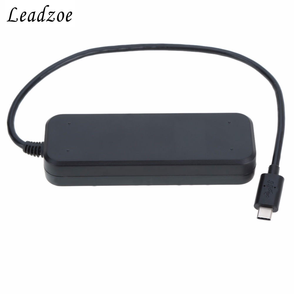 Leadzoe4 Port USB Type C HUB Switches USB C to USB 3.0 HUB adapter with individual On/Off and LED indication for MacBook Windows