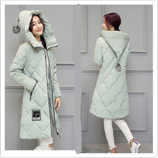 Новое Прибытие 2016 Зима Вниз Пальто Женщин Долго Моды Тонкий женский Теплая куртка Плюс Размер С Капюшоном Ватные Женщин Пуховик Jaqueta702