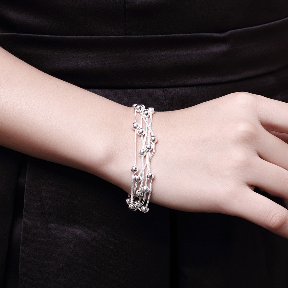 2017 New Arrival Beautiful Silver Plating Five Line Spherical Bead Chain & Link Bracelets Women Trendy Metal Bracelets