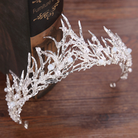 Trendy Silver Crystal Wedding Queen Crown Hair Jewelry Plated Rhinestones Tiaras Hairwear For Women Bride Wedding