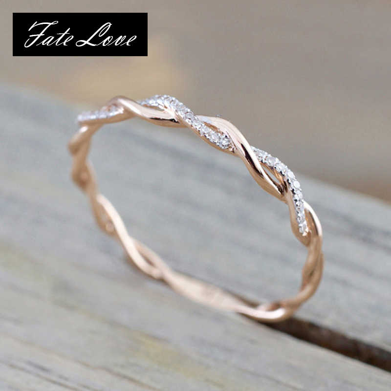 New Simple Round Rose Gold Ring For Women Silver Micro Paved Zirconia Wedding Couples Rings Anti-allergy Rings Women Jewelry