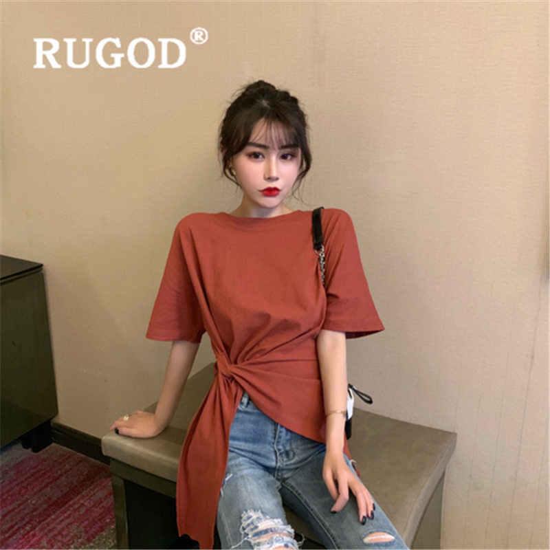 RUGOD 보우 레이스 tshirt 여성 새로운 도착 Oneck 캐주얼 하이 웨이스트 슬림 티셔츠 코튼 패션 poleras mujer