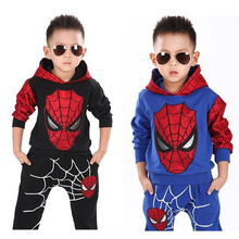 2016 Spiderman Children Boys Clothing sets Boy Spider man Kids Sports Suits 2pcs/Set Spring Autumn baby boys Clothes Tracksuits