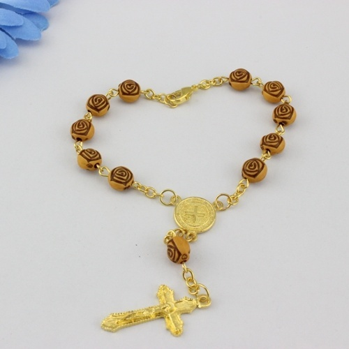 Hot Whole Rose Wood Rosary Bracelets Fashion Religious Cross Jewelry Bead 8mm 10pcs