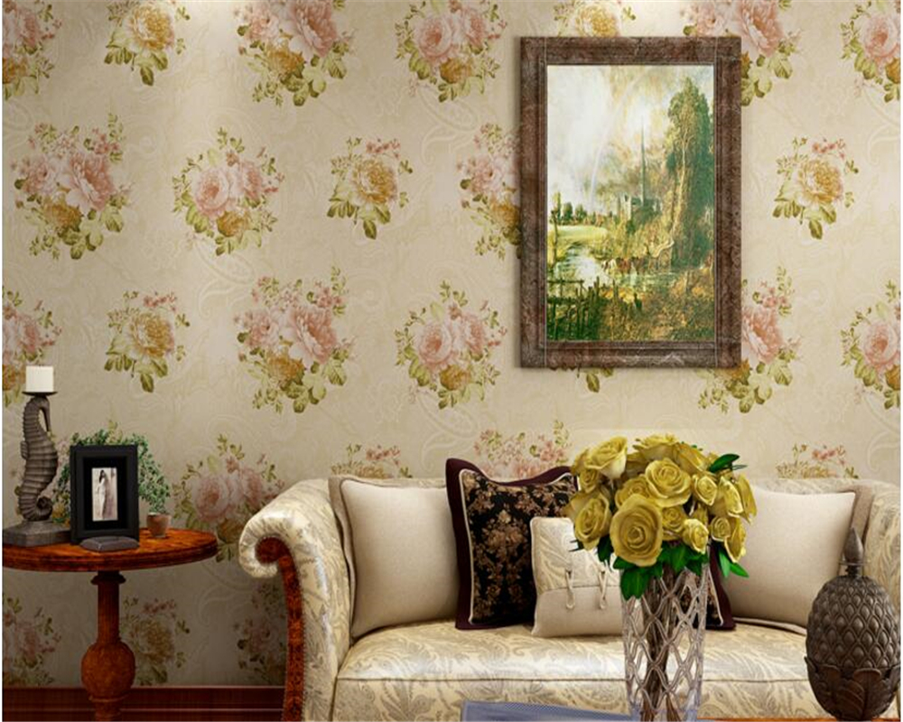 beibehang papel de parede Classic 3d wallpaper romantic pastoral flower fashion bedroom TV background wall cloth papier peint beibehang peacock hair classic fashion