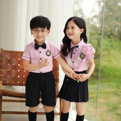 Детская модная школьная форма в корейском японском стиле, одежда для занятий спортом розовый топ, черная юбка/штаны, галстук, сценические